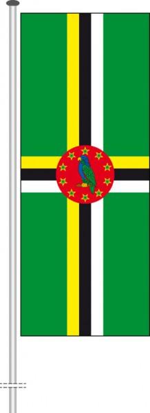 Dominica als Hochformatfahne