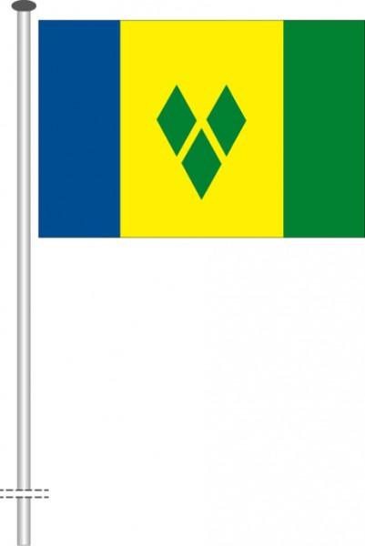 St. Vincent und Grenadien als Querformatfahne