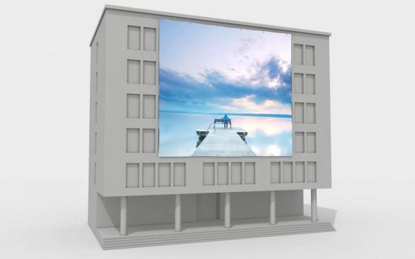 Fassadenbanner quadratisch