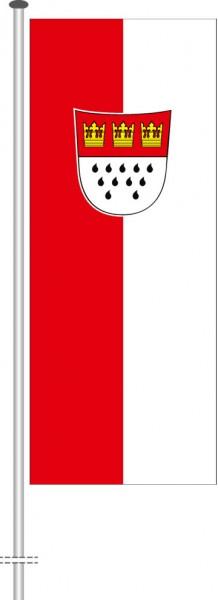 Köln mit Wappen als Hochformatfahne