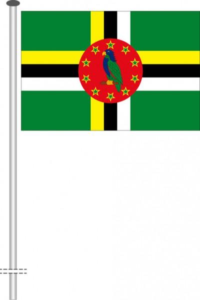 Dominica als Querformatfahne