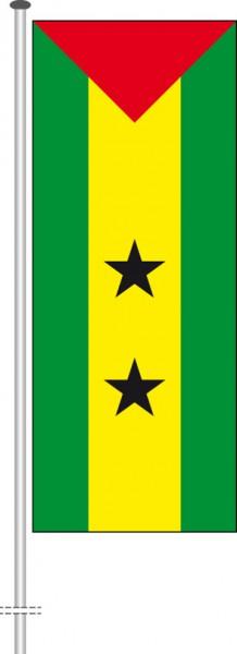 Sao Tome und Principe als Hochformatfahne
