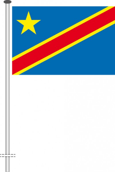 Kongo Kinshasa als Querformatfahne