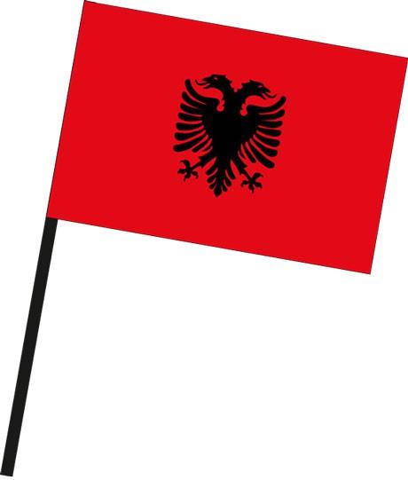 Albanien als Stockfahne