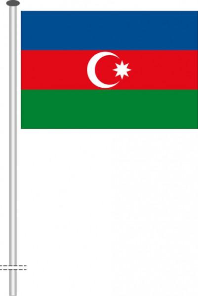 Aserbaidschan als Querformatfahne
