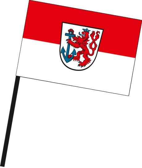 Düsseldorf mit Wappen als Stockfahne