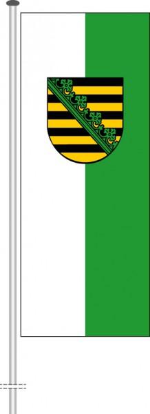 Sachsen - Dienstflagge als Hochformatfahne