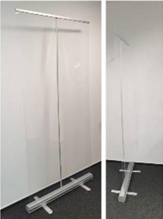 Rollup Starter mit Transparentfolie / Schutzwand to go