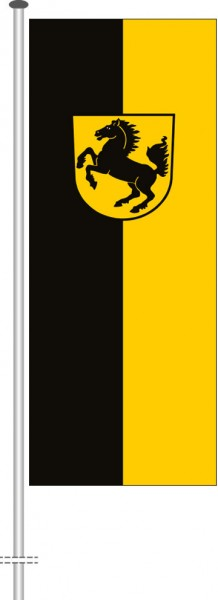Stuttgart mit Wappen als Hochformatfahne