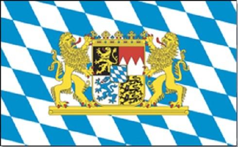 Bayern mit Staatswappen als Fanfahne