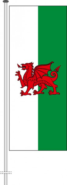 Wales als Hochformatfahne