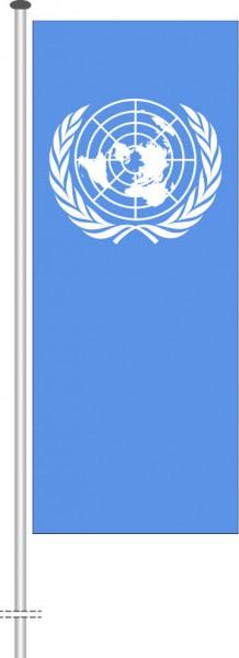 Vereinte Nationen als Hochformatfahne
