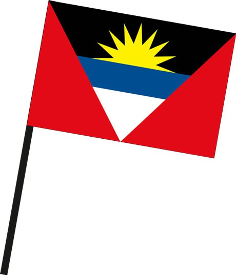Antigua und Barbuda als Stockfahne