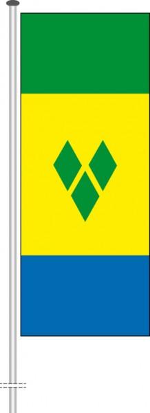 St. Vincent und Grenadien als Hochformatfahne