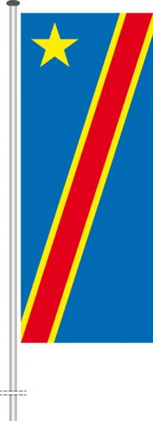Kongo Kinshasa als Hochformatfahne
