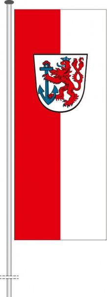 Düsseldorf mit Wappen als Hochformatfahne